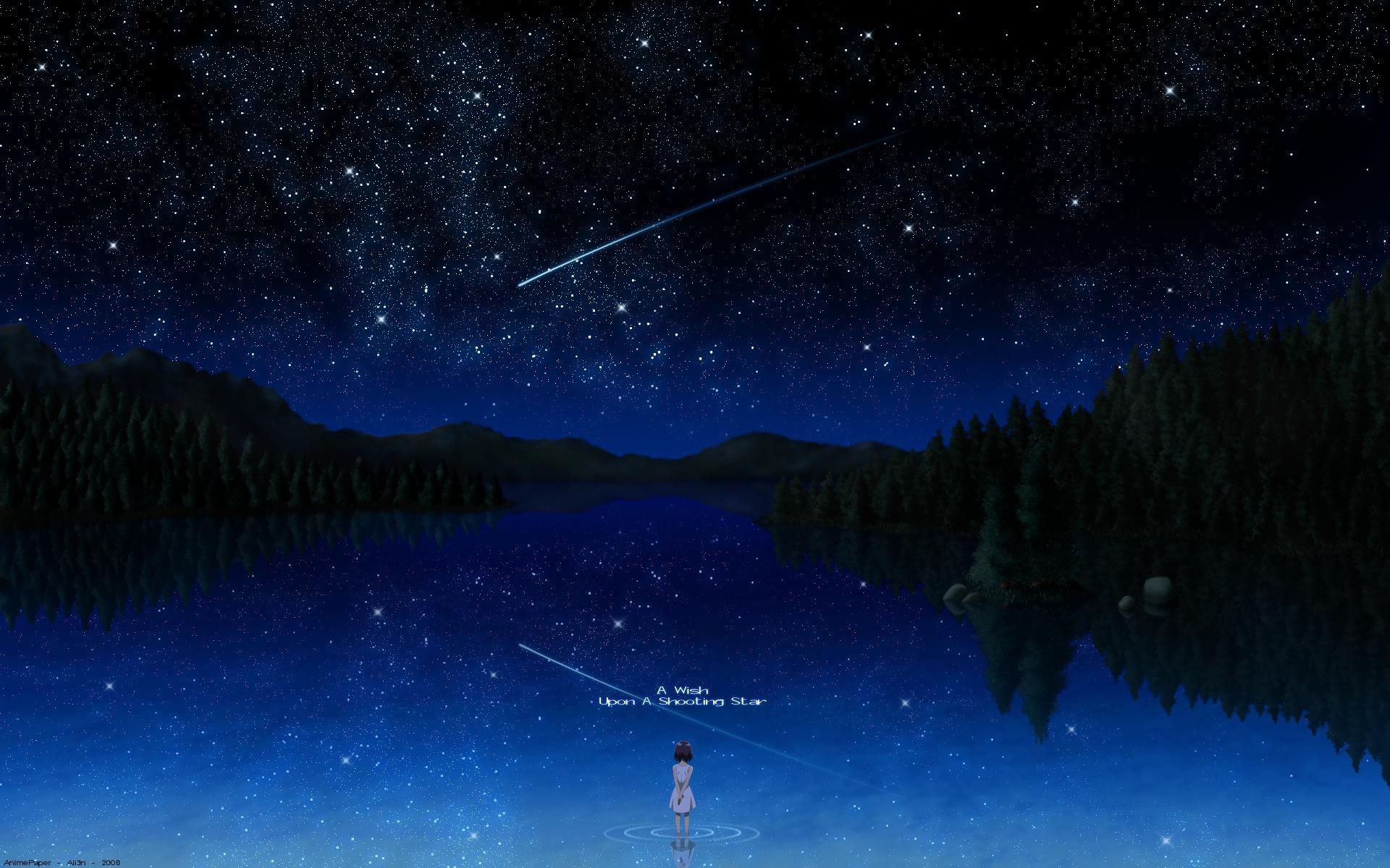 Anime Girl Looking At Stars Chrome Geek