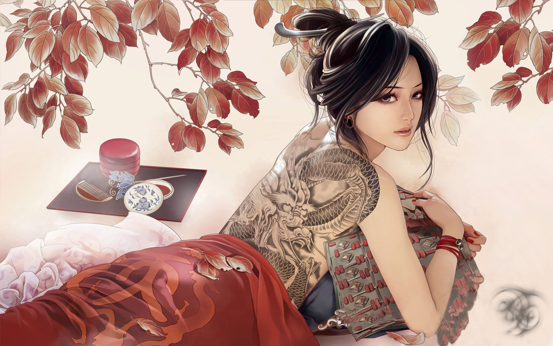 wallpaper geisha corals girl - photo #18