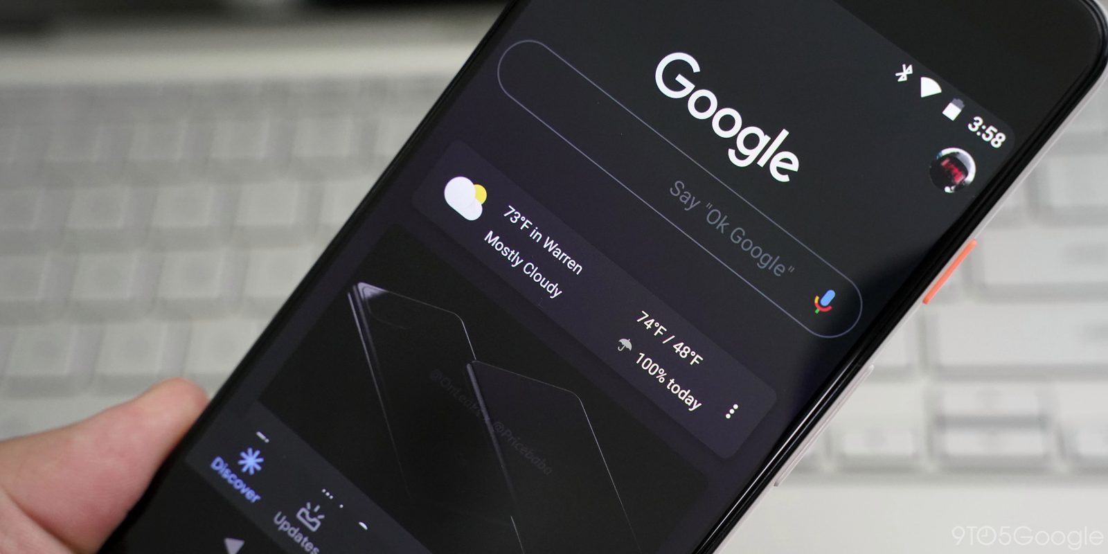 Google app testing full dark theme for Search and Discover